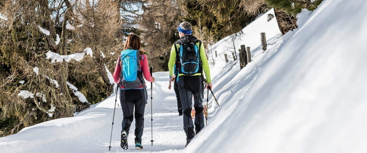 On winter hike around your lodge in South Tyrol